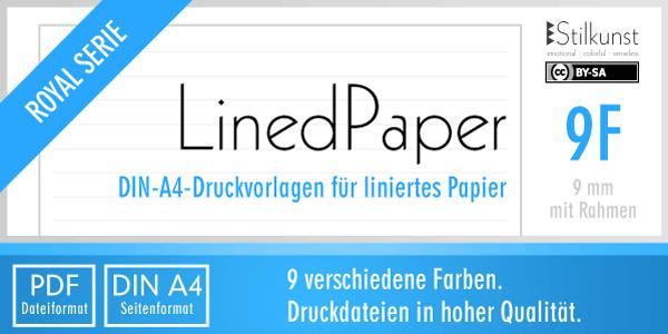 Druckvorlage Din A4 Liniertes Papier 9 Mm Mit Rahmen Stilkunst De